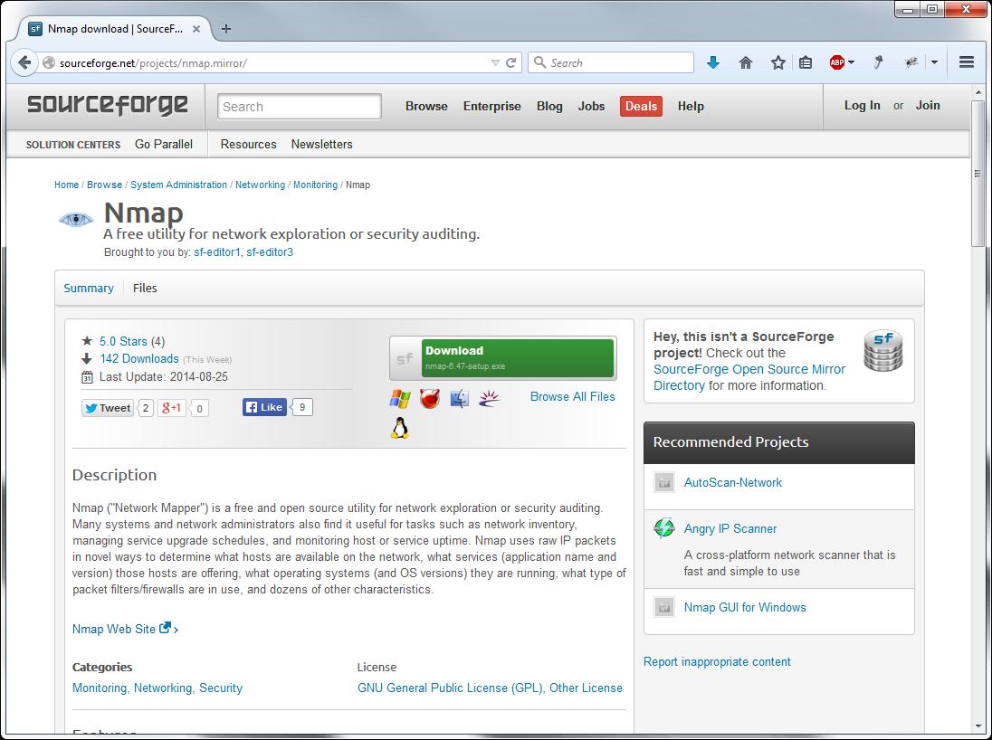 Так это выглядит (в данном случае: страница Nmap на SourceForge). На первый взгляд ничего не изменилось, но на самом деле авторами теперь числятся администраторы SourceForge, а вместо оригинального установочного файла часто подсовывается adware-инсталлятор.