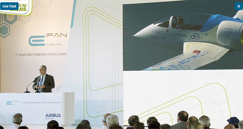 E-Fan официально объявлен первым электросамолётом, перелетевшим Ла-Манш (фото: Airbus).