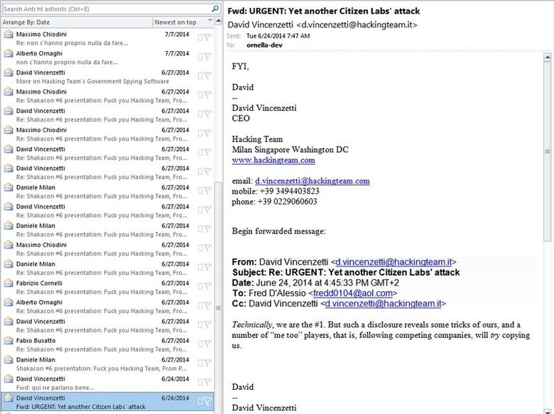 Переписка Hacking Team стала общественным достоянием (изображение: inquisitr.com).