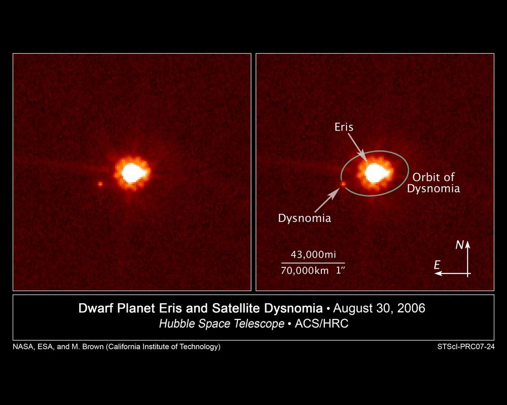 Эрида со спутником Дисномия: несостоявшаяся десятая планета Солнечной системы. Она массивней Плутона на четверть, а удаляется от Солнца втрое дальше. Так что в 2006 году, когда встал вопрос о классификации, астрономам предстояло либо присвоить статус планеты Эриде, либо лишить такового Плутон. Сошлись на последнем. Подробнее о рутине профессиональной астрономии и подковёрных научных играх, сопровождавших поиск транснептуновых объектов, можно почитать в книге Майка Брауна «Как я убил Плутон». Это его команда обнаружила Эриду и несколько других похожих небесных тел.