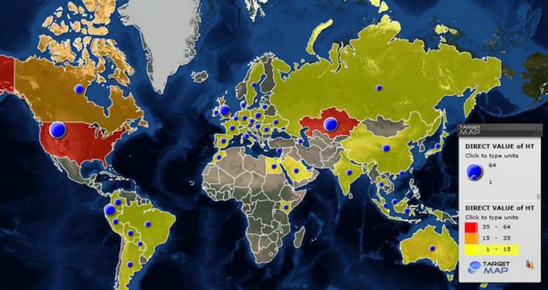 Расположение командных серверов Hacking Team (изображение: securelist.com).