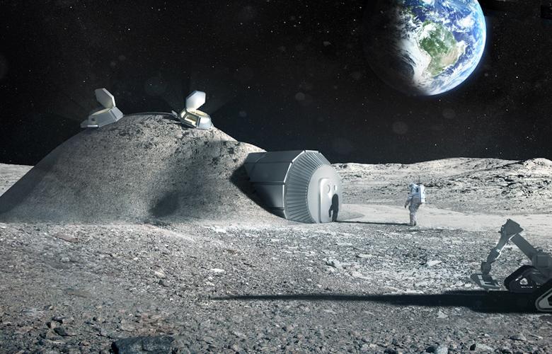 Лунная база в представлении художника (изображение: esa.int).