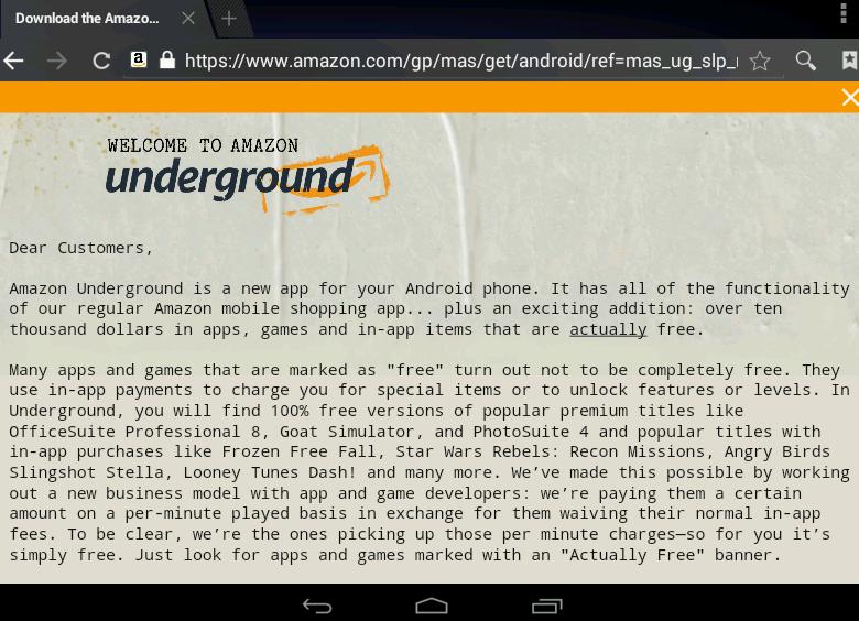 Amazon запустила сервис Underground.
