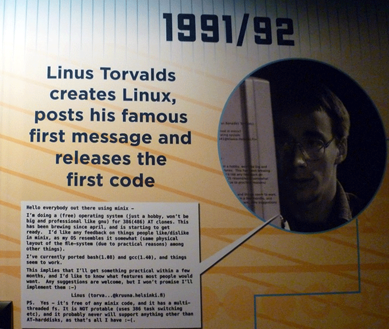 Первое сообщение о Linux (фото: arstechnica.com).