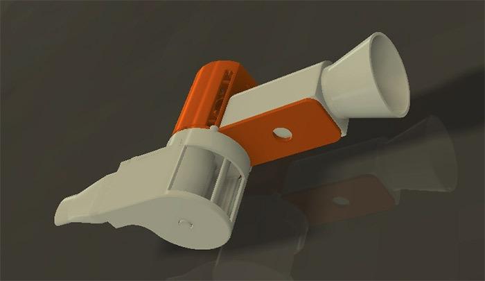 Фонарик-свисток напечатанный на 3D-принтере