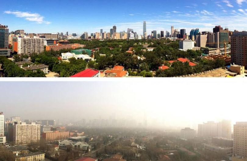 Небо в Пекине во время и после парада