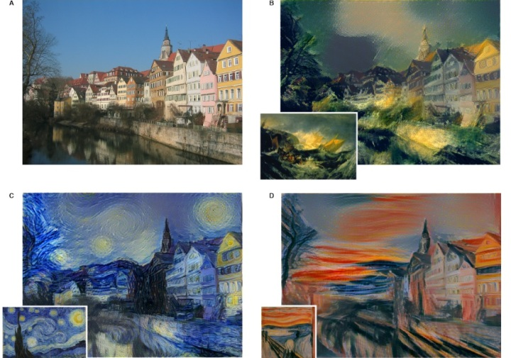 Вот так картинка преобразуется специально обученной нейросетью в стиле то Тернера, то Ван Гога, то Мунка…