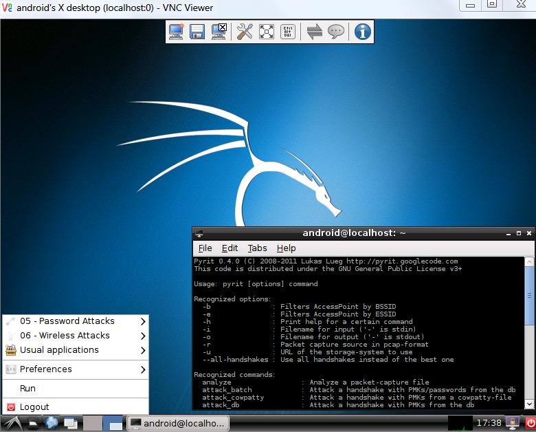 Kali Linux 2.0 ARM на смартфоне Samsung GT-I9250 с удалённым управлением через VNC.