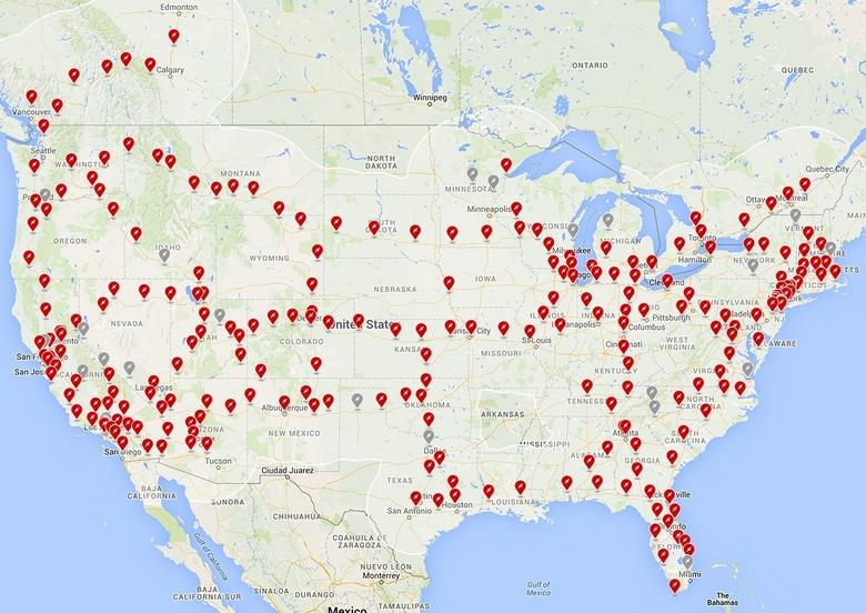 Сеть станций Tesla SuperCharger.