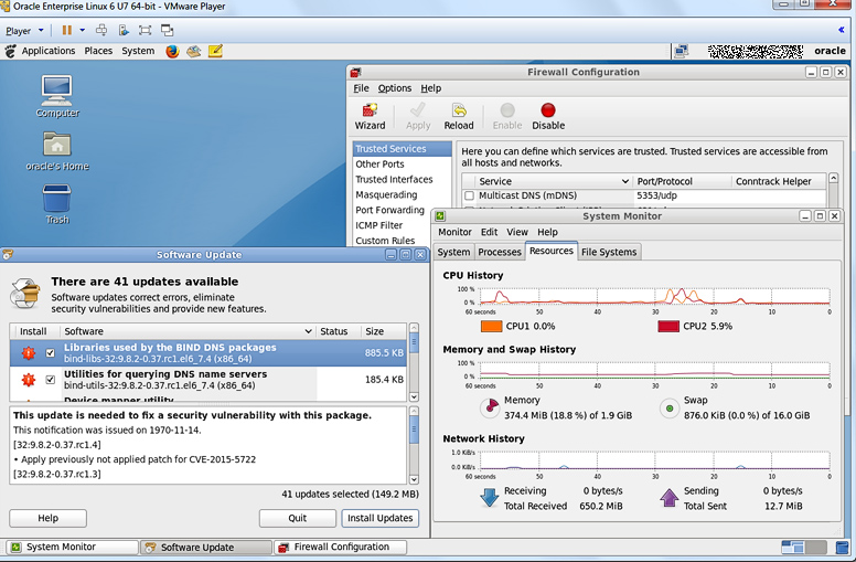 Oracle Enterprise Linux 6 в VMware Player.