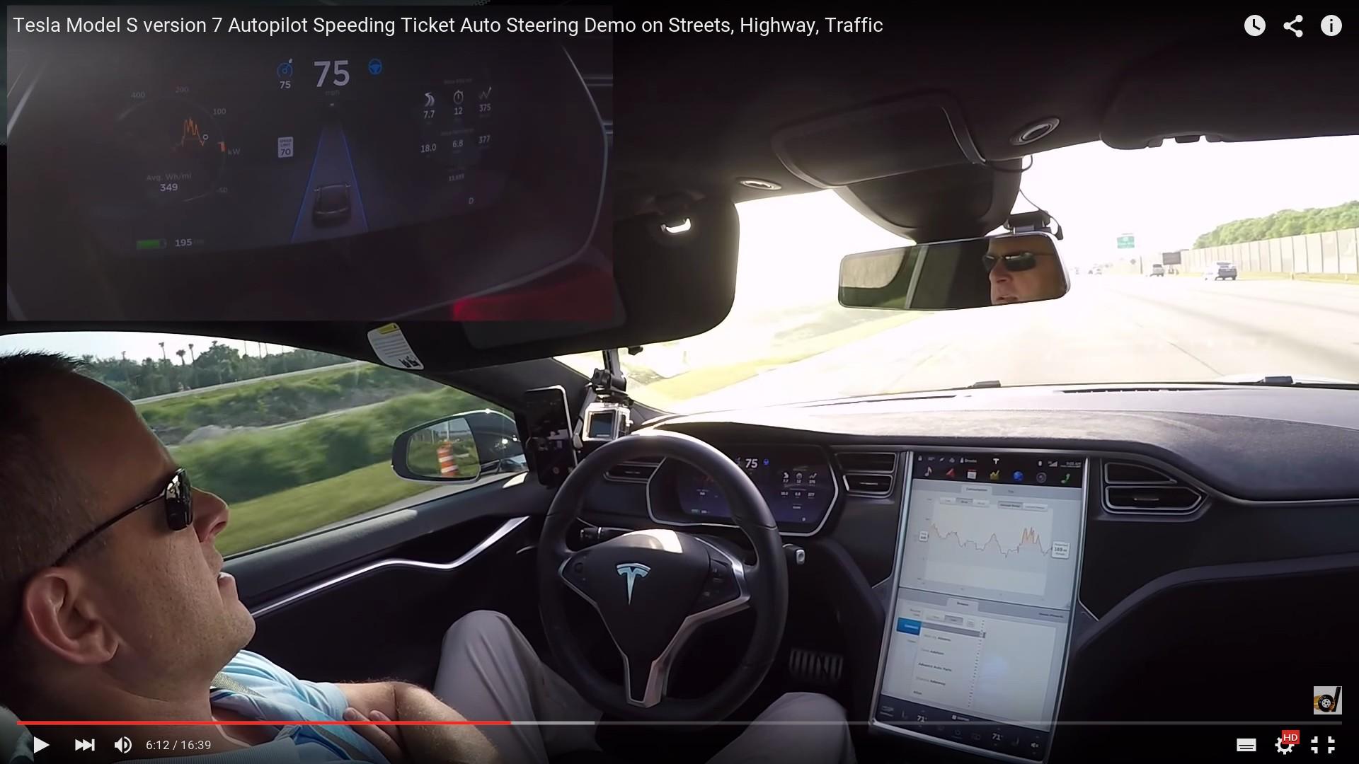 За рулём автопилот — и скорость уже больше допустимой. Несколько минут спустя водитель будет оштрафован.