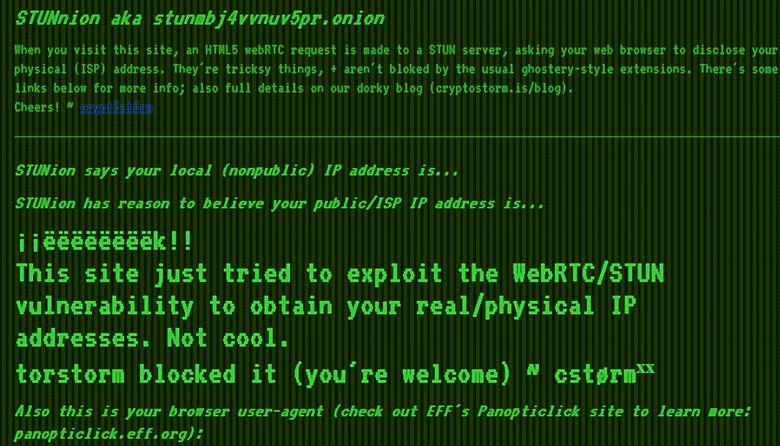Использование уязвимости WebRTC/STUN для раскрытия реального IP-адреса (изображение: deepdotweb.com).
