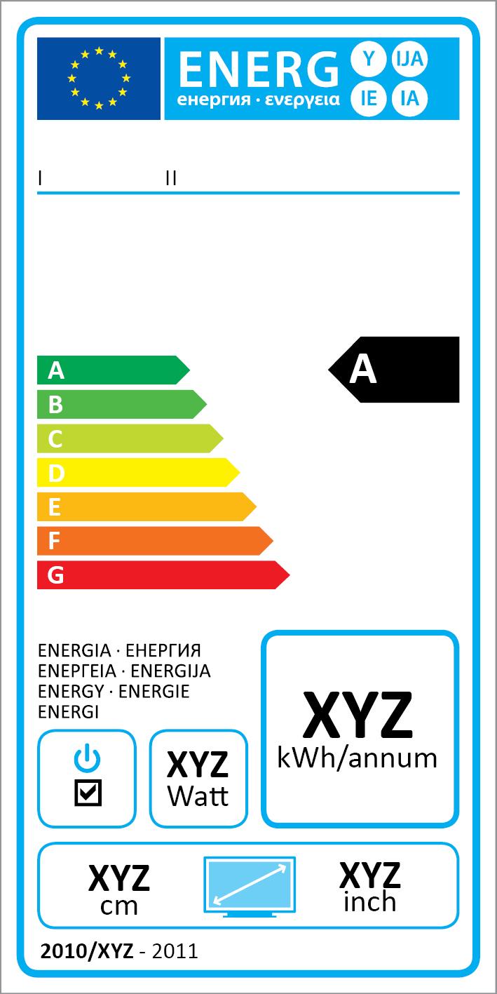 В ЕС введена единая система маркировки энергоэкономичности бытовых товаров. Этикетки на всех продуктах, от холодильников до автомобилей, выглядят однотипно и различаются лишь в некоторых деталях. В частности, для телевизоров в срок до 2020 года предусмотрено расширение класса энергоэкономичности А: он будет подразделён на несколько уровней. Это необходимо, потому что почти все современные ТВ уже попадают в класс А, и покупателю трудно выбрать лучшее.