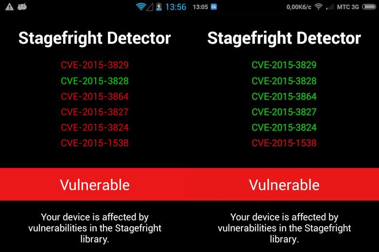 Результаты сканирования в Stagefright detector на Android 4.2.1 (слева) и 4.4.4 (справа).