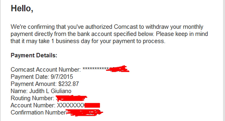 Счёт за услуги Comcast.