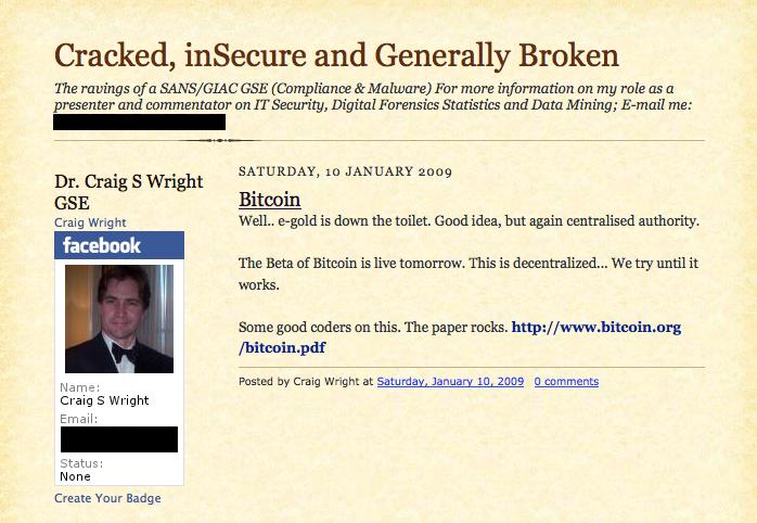 Запись в блоге Райта, посвящённая Bitcoin и, якобы, совпадающая по времени с публичным стартом первой криптовалюты. В настоящее время удалена. Фото: Wired.