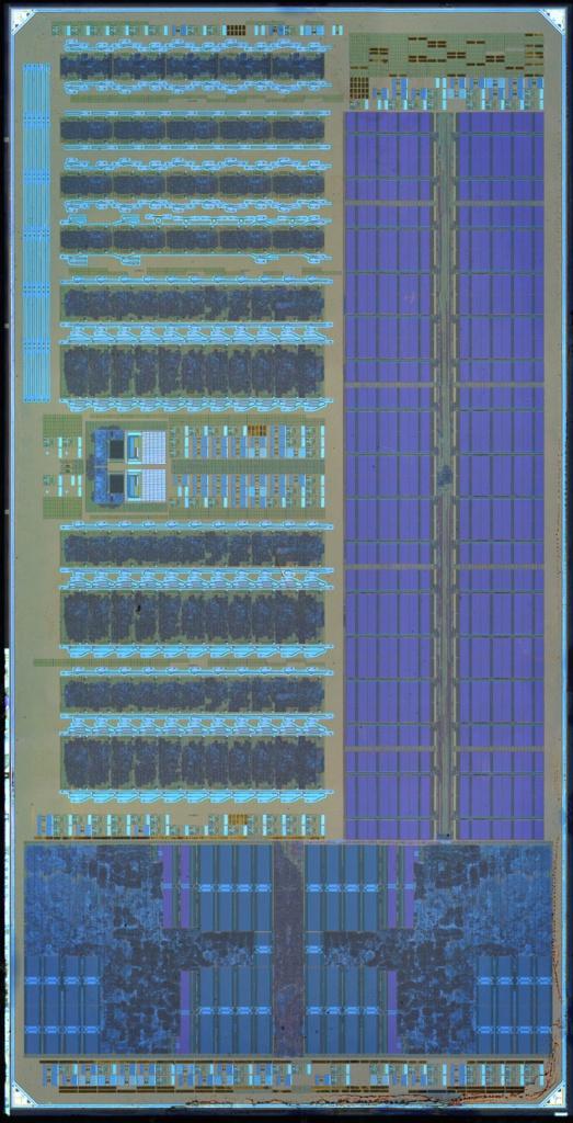 Тот же чип. Внизу два RISC-ядра, выше справа поле памяти, слева — два блока оптических элементов.
