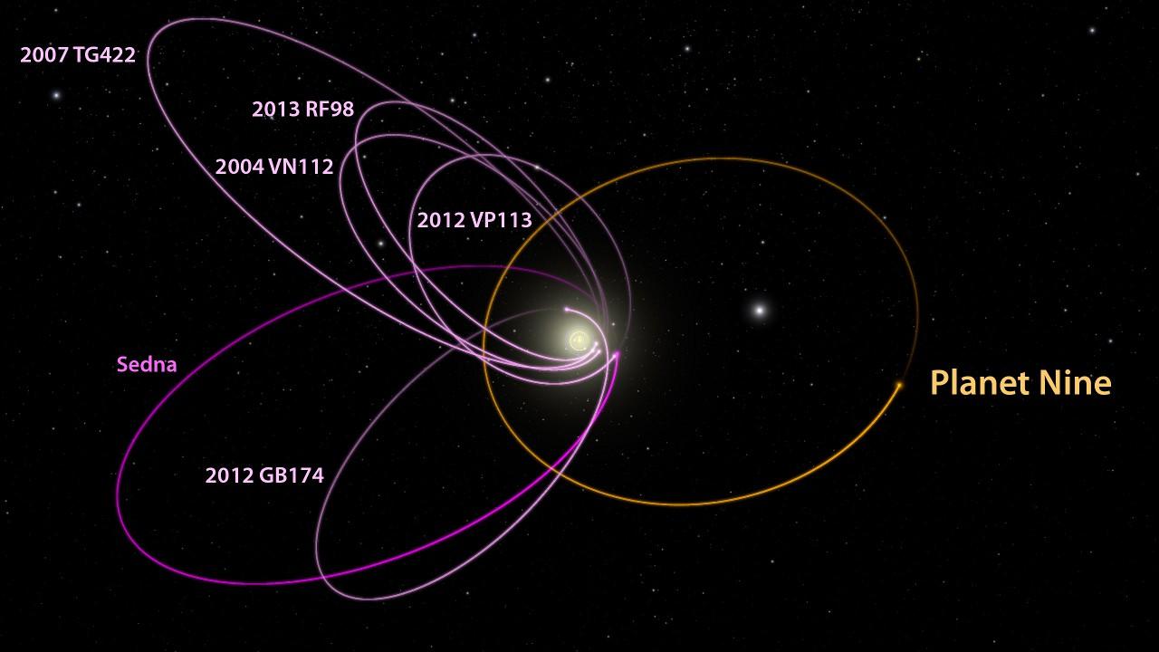 Планета Девять и шесть плутоидов, ей противостоящих. В центре схемы Солнце и (мелко) орбиты восьми планет. Вид перпендикулярно плоскости эклиптики.