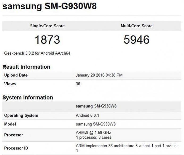 Тест производительности Samsung Galaxy S7 (изображение: napidroid.hu).