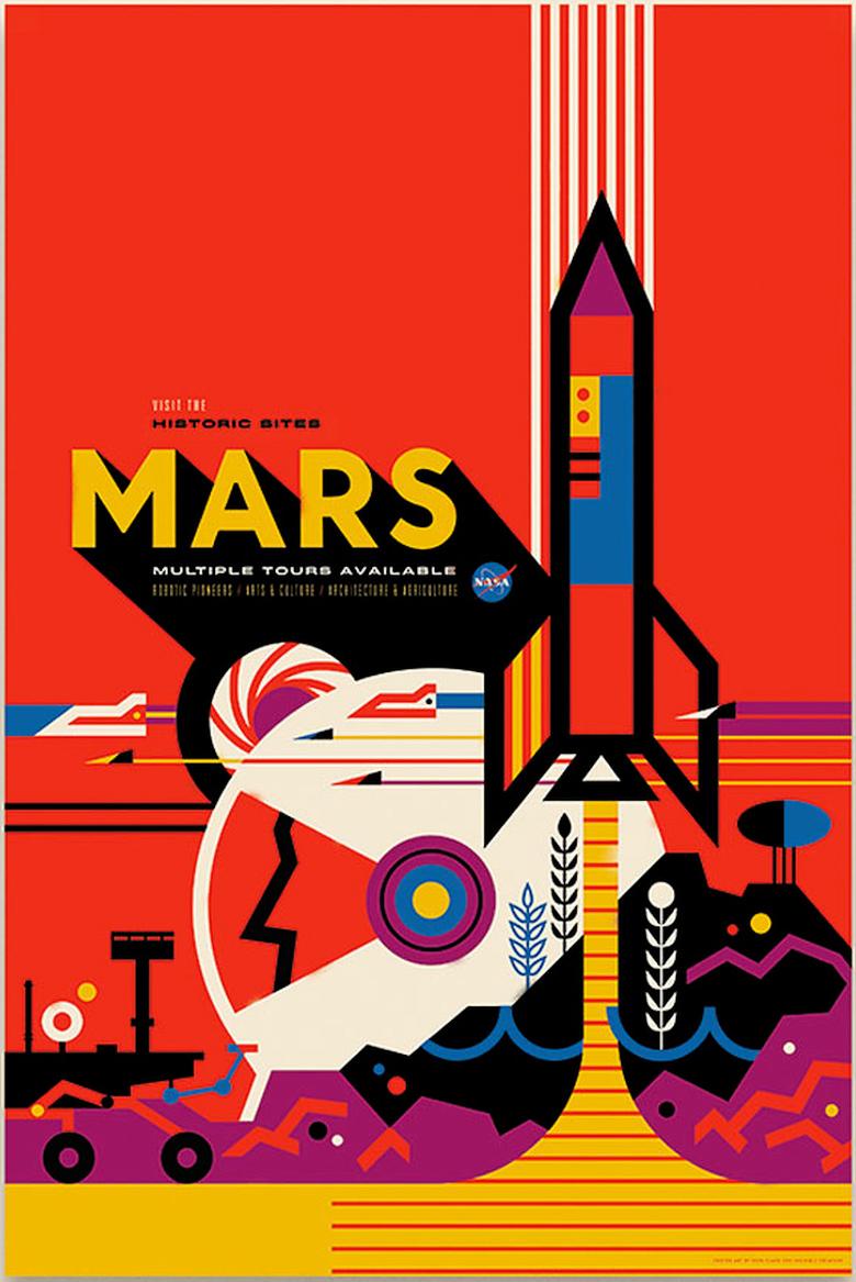Посетите исторические места Марса! (плакат: invisiblecreature.com).