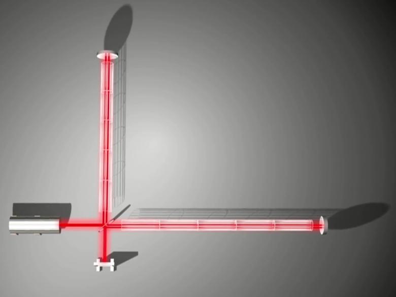 Малейший сдвиг любого зеркала прекращает деструктивную интерференцию, и фотодетектор регистрирует свет (изображение: MIT).
