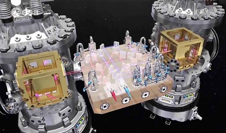 Детектор eLISA содержит два позолоченных куба (изображение: ESA).