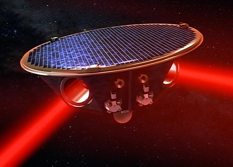 Космический лазерный интерферометр eLISA (изображение: ESA).