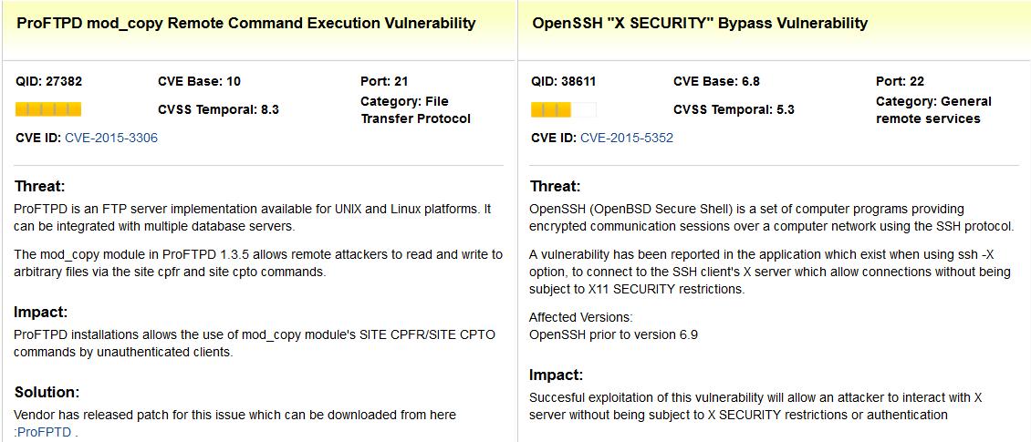 Уязвимости ProFTPD и OpenSSH.