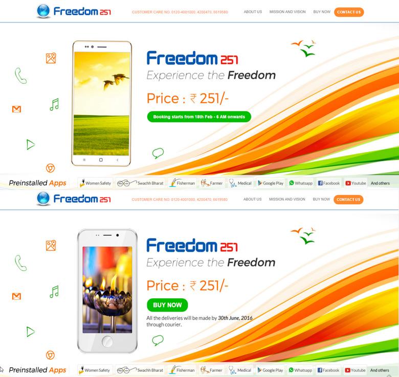На скриншотах сайта Ringing Bells  за 17 и 18 февраля изображения Freedom-251 отличаются.