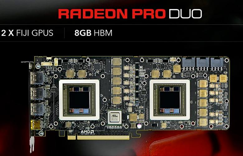 Видеокарта AMD Radeon Pro Duo без СВО (изображение: AMD).
