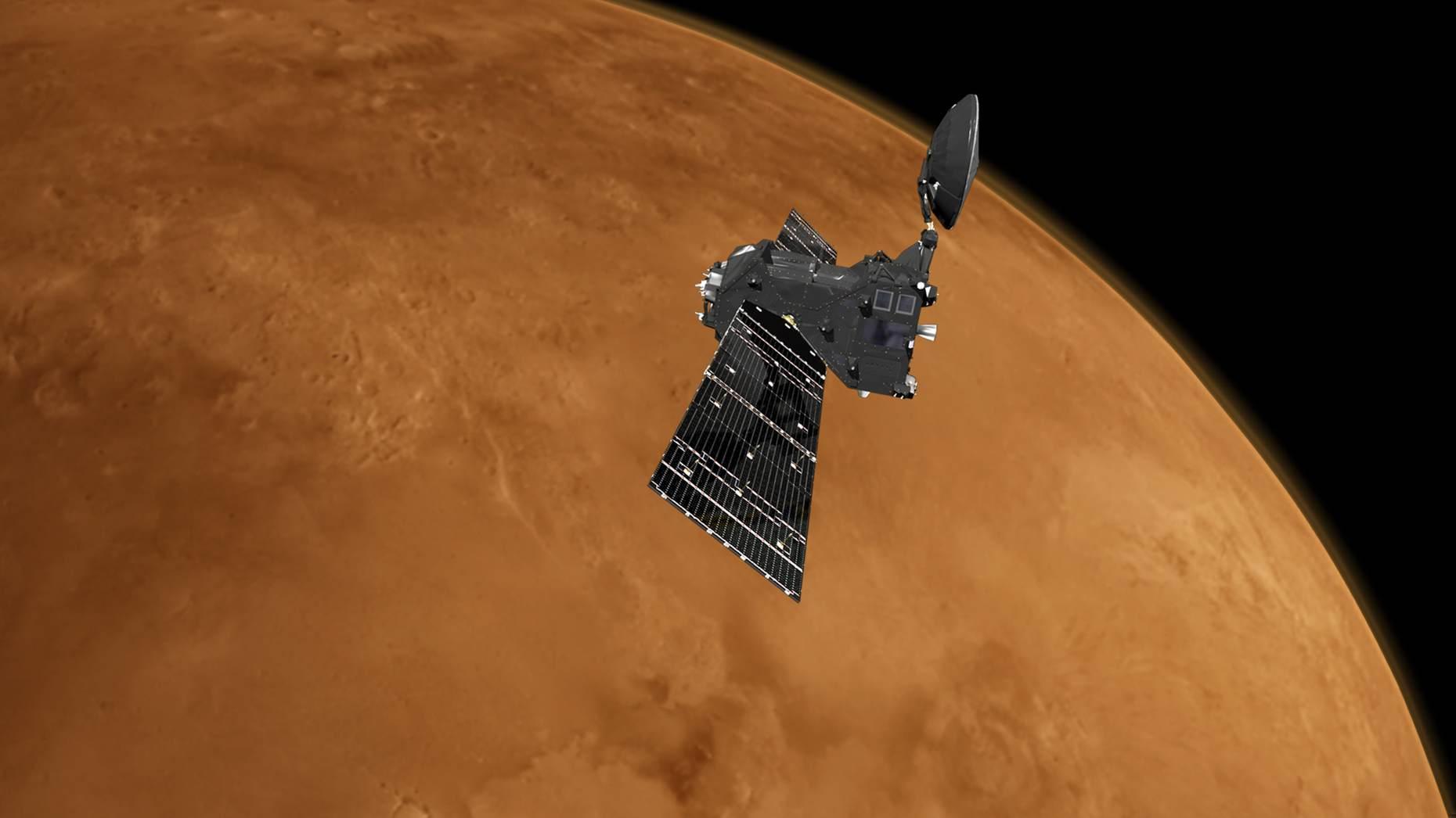 Орбитальный модуль TGO после отделения спускаемого аппарата Schiaparelli (изображение: ESA),