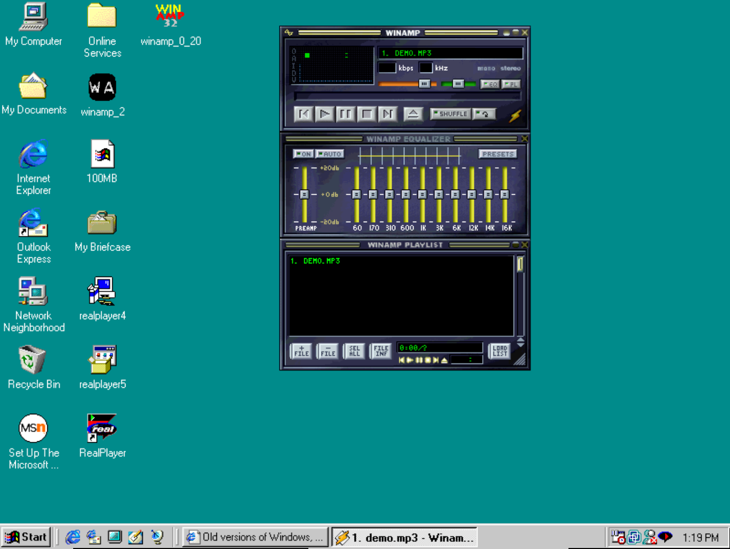 Winamp и Windows 95