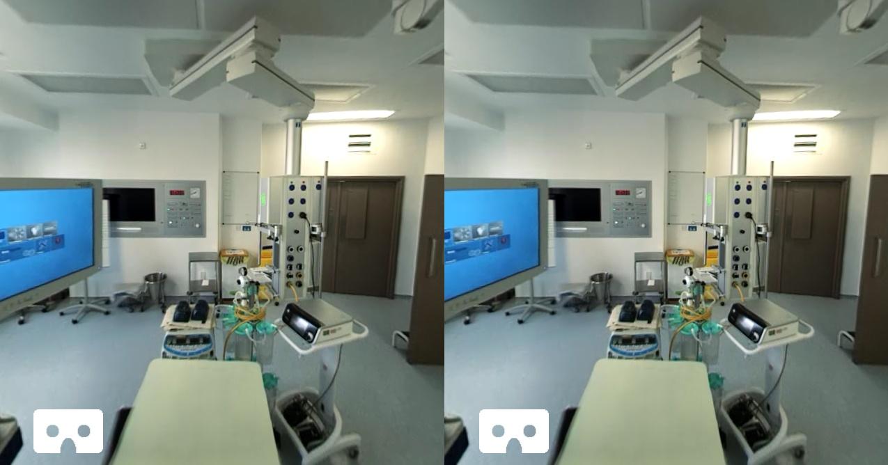 Обзор операционной в шлеме виртуальной реальности.