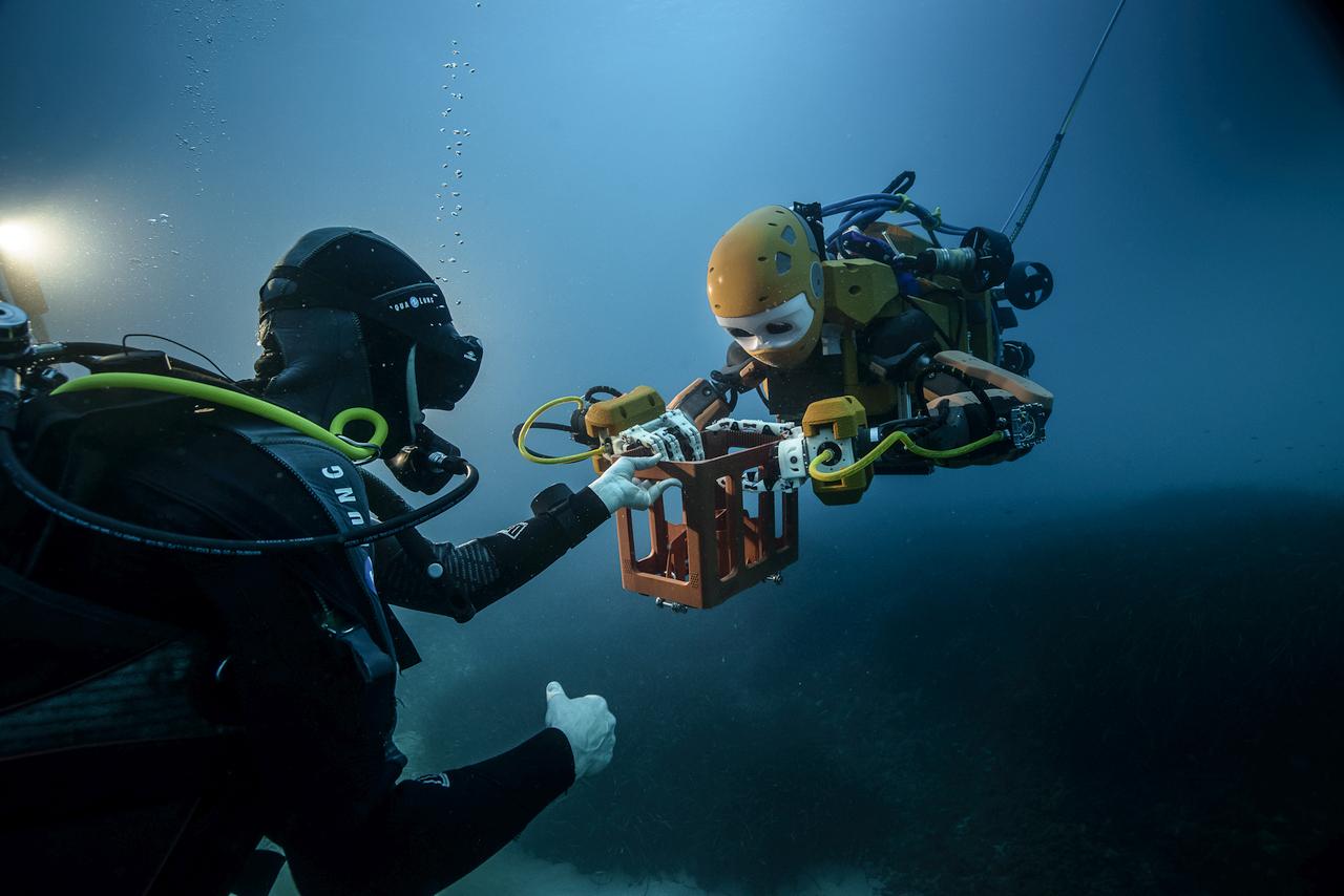 Взаимодействие OceanOne с аквалангистами.