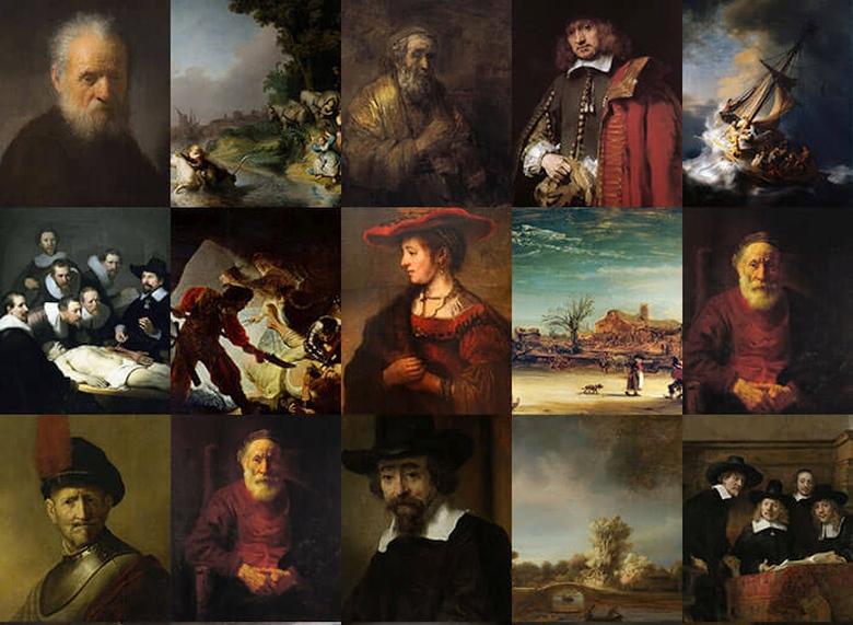 Примеры проанализированных картин Рембрандта (изображение: nextrembrandt.com).