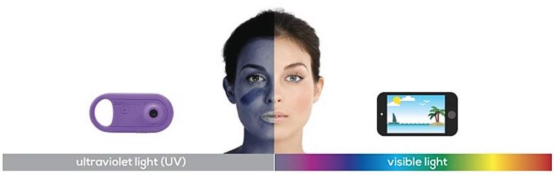 Снимок в обычном и УФ-спектре (изображение: Voxelight).