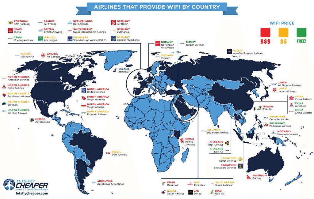 В мире Wi-Fi на борту самолета предлагает множество авиалиний