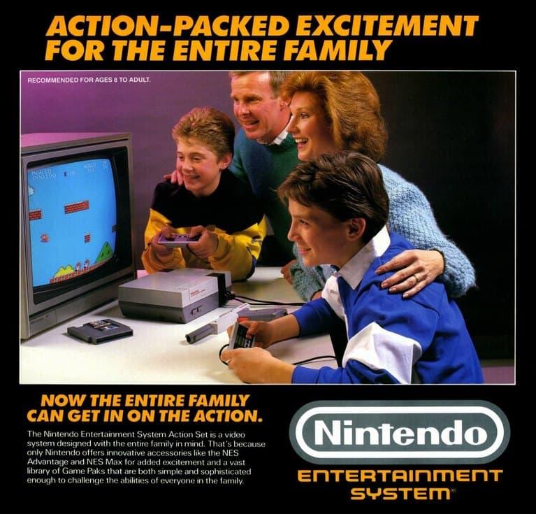 Оригинальная NES в рекламе 80-х.
