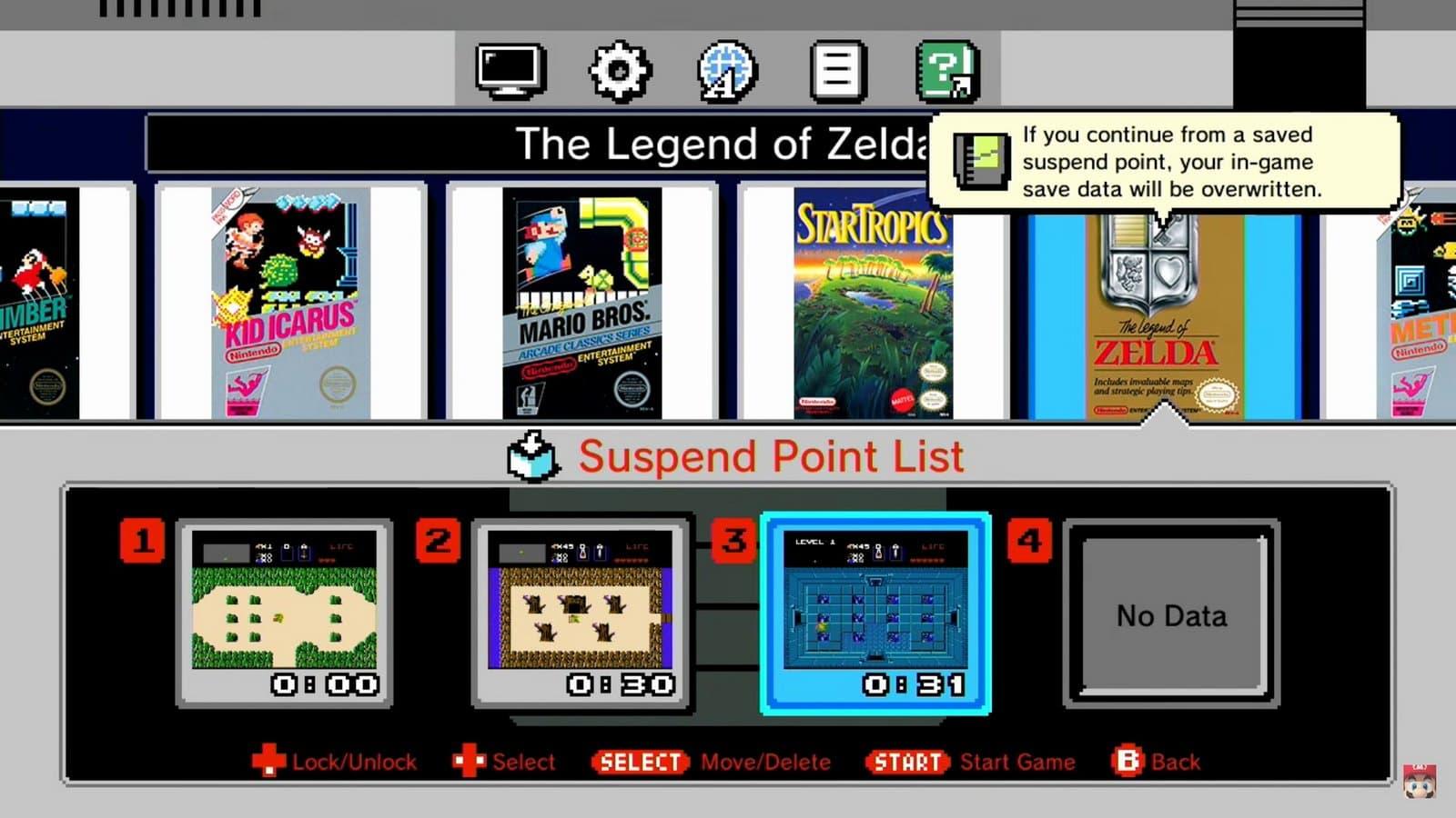 Интерфейс NES Classic Edition.