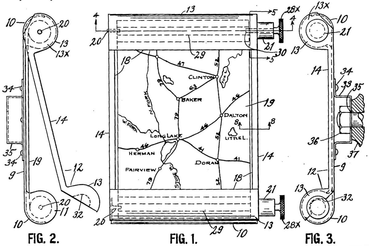 Чертежи из патента Джона Дж. Бови 1921 года