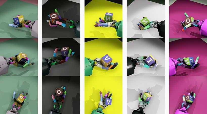 Обучение робота Dactyl в модельной среде сопровождалось такими картинками