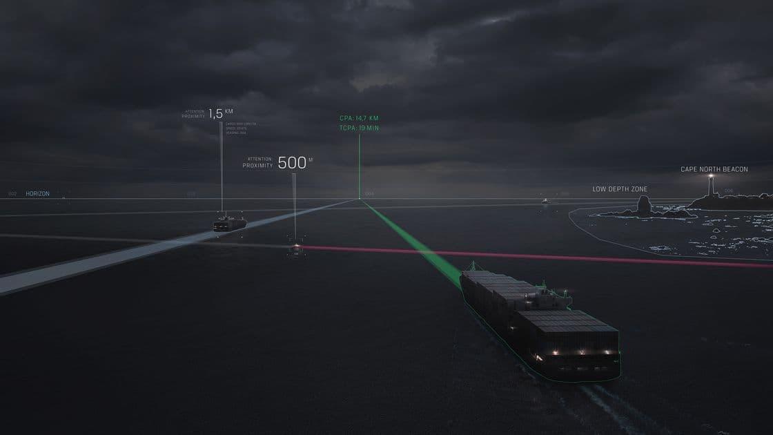 Система Intelligent Awareness объединяет данные из нескольких систем, чтобы оповестить экипаж о приближении других судов и опасных участках на маршруте. Фото: www.theverge.com](Intelligent Awareness.jpg