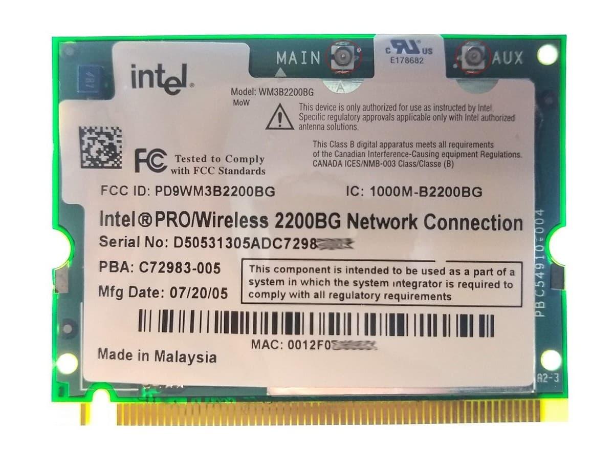 Замена модуля Wi-Fi устаревшего стандарта. Красным отмечены разъёмы подключения антенн