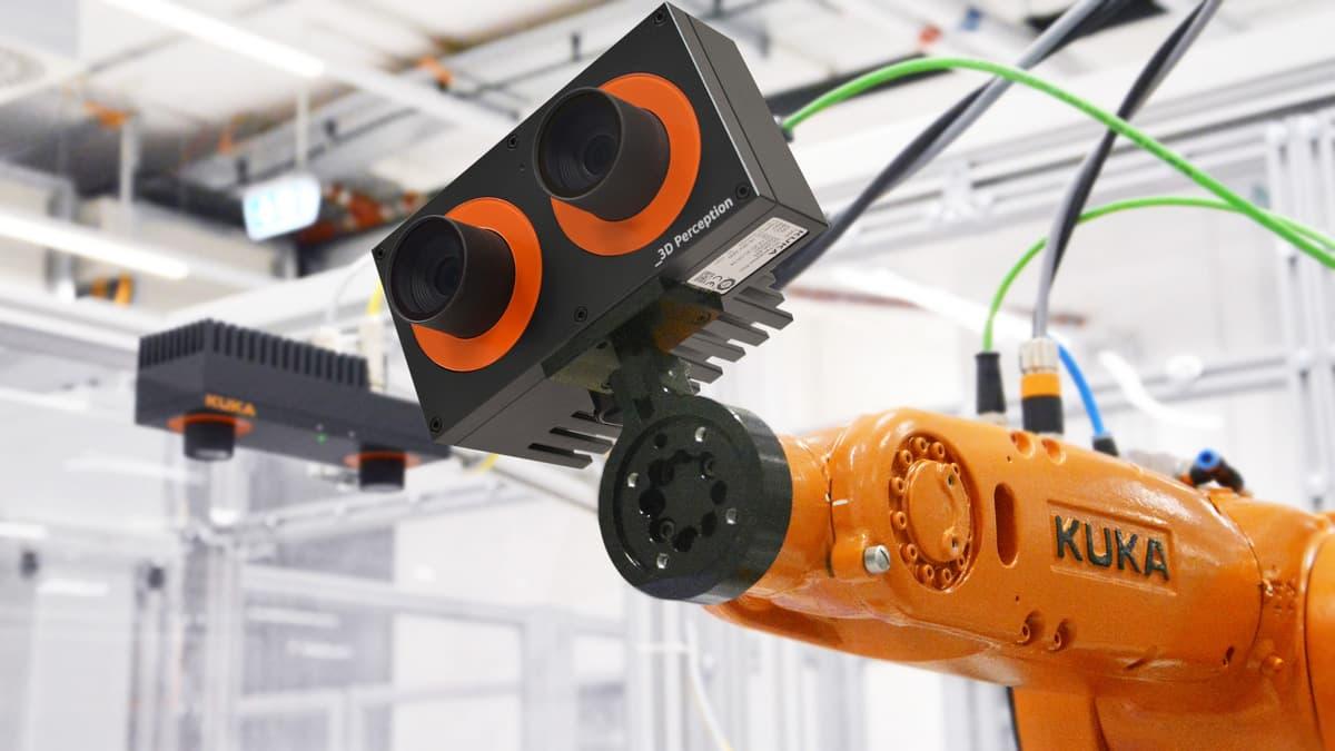 Вот так выглядит интегрированный видеосенсор KUKA _3D Perception – вся обработка сигналов происходит именно в этой коробочке