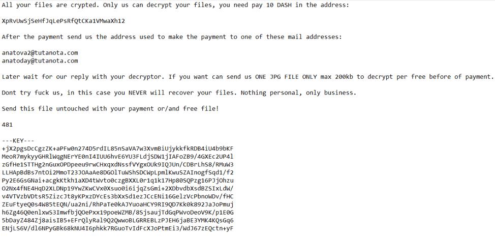 В сети распространяется новый криптовалютный вирус-вымогатель Anatova