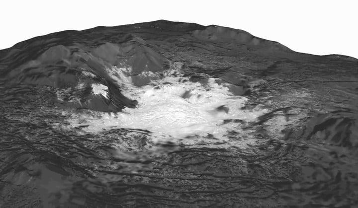 Белые пятна на Церере - свидетельства извержения древних ледяных вулканов