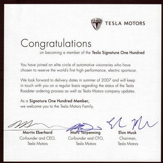 Поздравление первой сотне покупателей от Tesla Motors