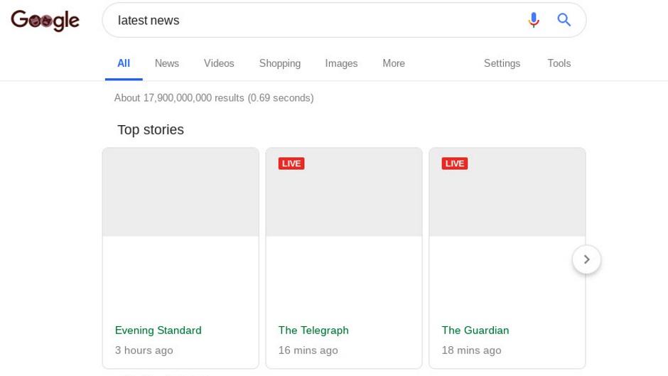 На фото: Предположительно так будет выглядеть Google Search в соответствии со статьей 11 директивы об авторских правах.