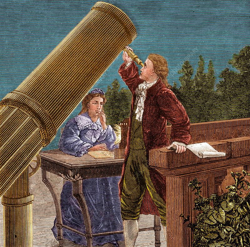 Уильям Гершель с сестрой Каролиной в ночь открытия Урана
