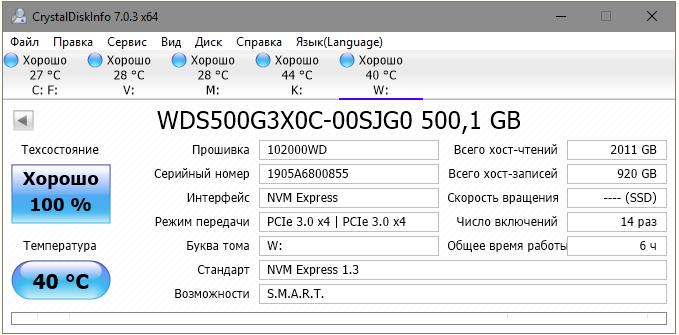 Основные характеристики WD Black SN750, 500 Гб